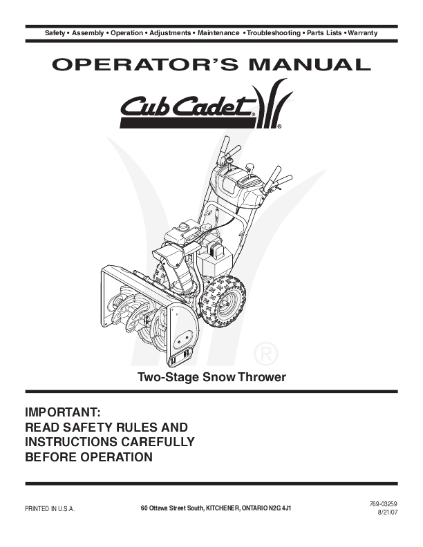 cub cadet two stage snow thrower operator s manual cub cadet snow blower owners manual cub cadet 3x 24 snowblower manual