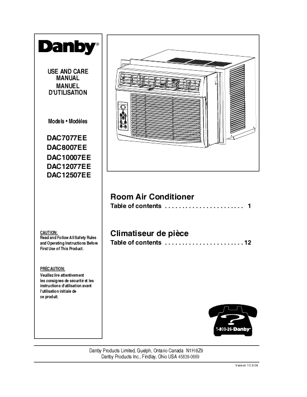 Danby air conditioner dac8007ee user 39 s guide for Climatiseur de fenetre danby