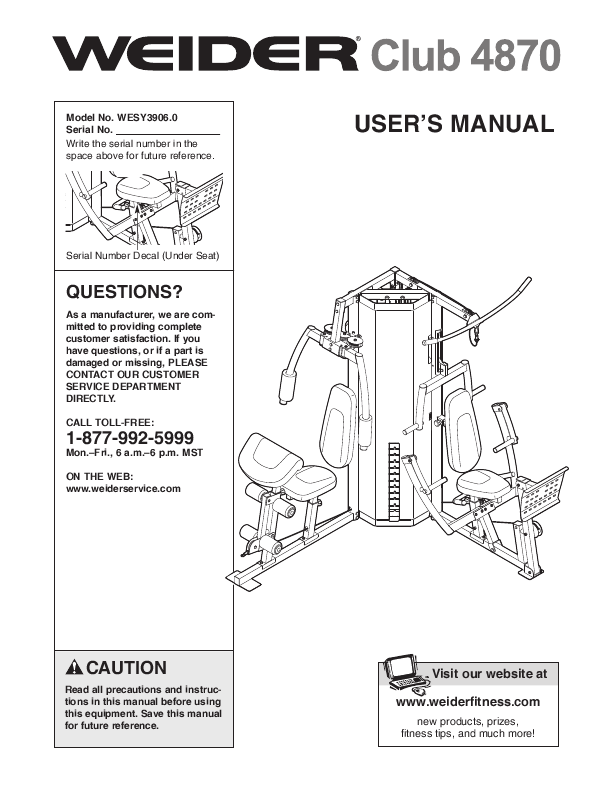 Search Weider 148332 User Manuals Manualsonline