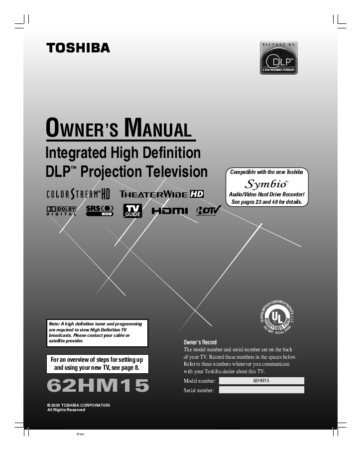 "search toshiba toshiba projection hdtv user manuals manualsonline com rh tv manualsonline com 62"" DLP Toshiba Models Toshiba 62 Inch DLP TV"