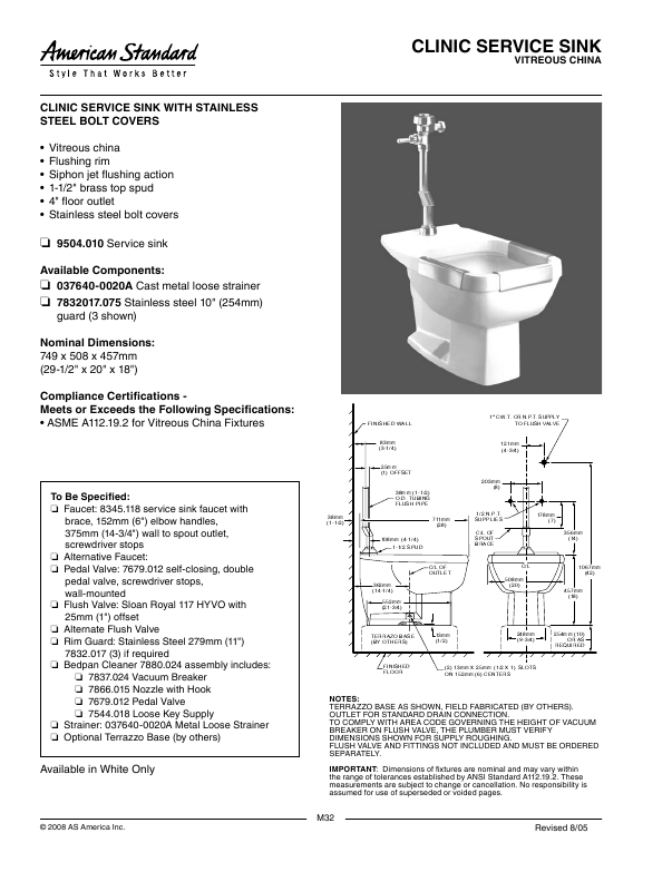 Clinical Service Sink : American Standard Clinic Service Sink Specification Sheet