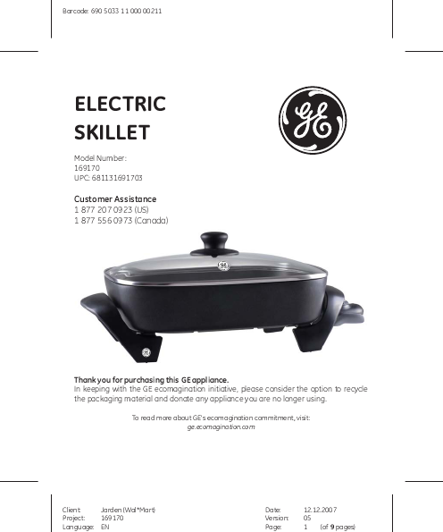 Ge Coffee Maker With Grinder : General Electric Electric Skillet Owner s Manual