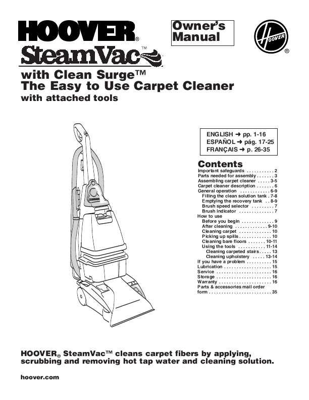 hoover max extract carpet cleaner instructions