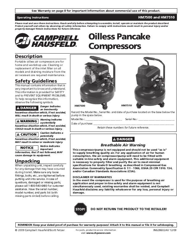 Campbell Hausfeld Nail Gun Manual