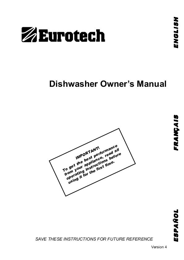 operating instructions for smeg dishwasher