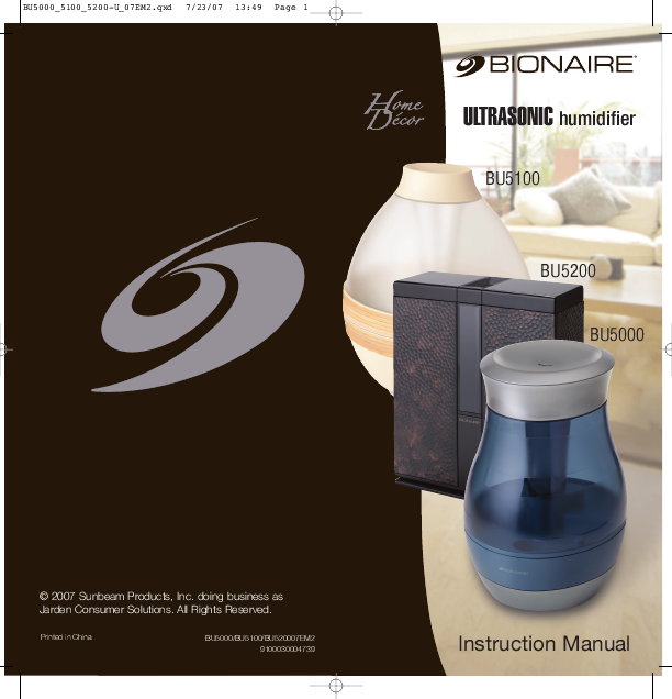 homedics ultrasonic cool mist humidifier instruction manual