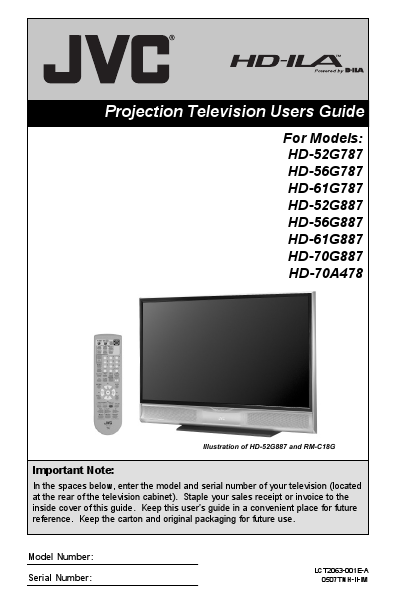 Jvc Projection Television Hd 52g787 User S Guide