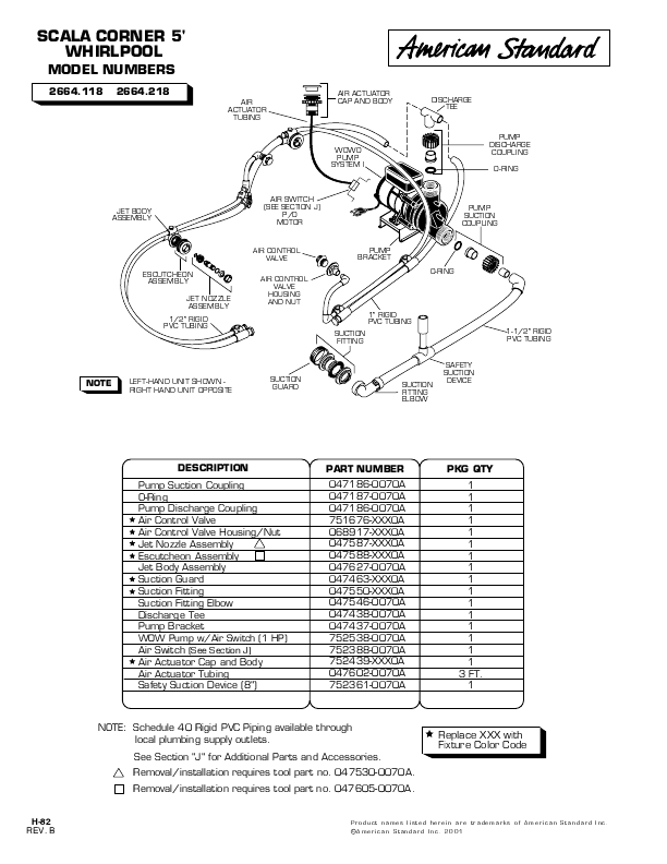 american standard jacuzzi parts collections