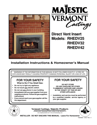Vermont Castings Direct Vent Installation Instructions Homeowner 39 S Manual