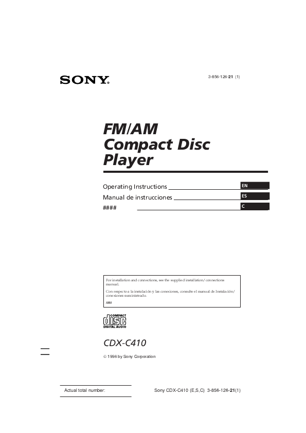 sony operating fm am compact disc player cdx c410 manualsonline