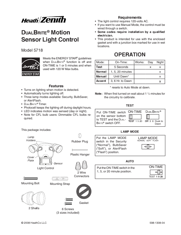 Heath Zenith Home Safety Product 5718 User 39 S Guide