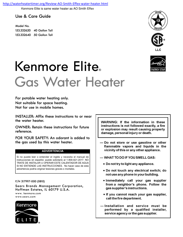 search kenmore kenmore gas water heater user manuals. Black Bedroom Furniture Sets. Home Design Ideas