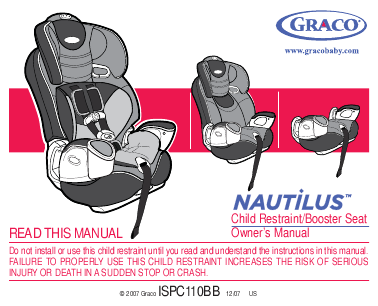 Graco Car Seat Child Restraint Booster Seat User S Guide