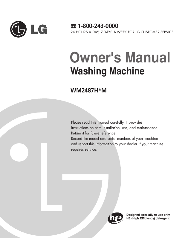 washing machine manuels