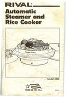 Rival Automatic Steamer and Rice Cooker Owner's Manual