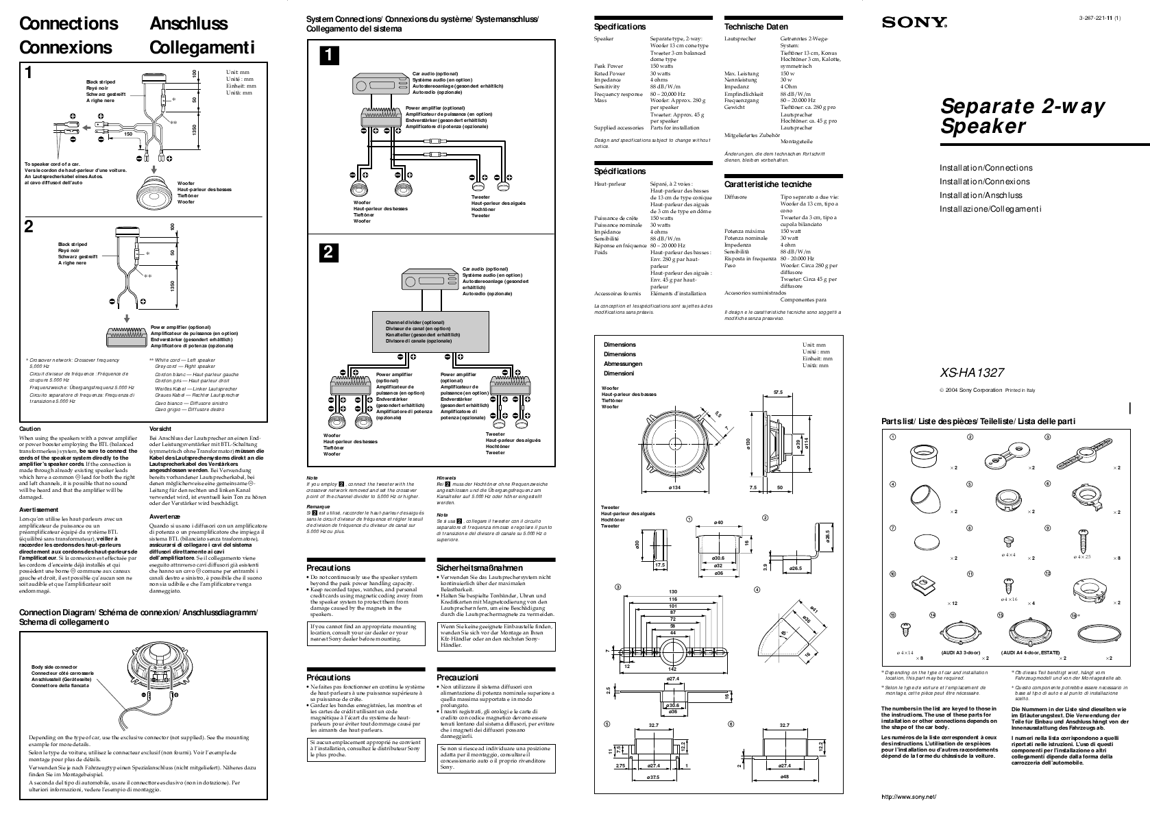 Search Car Speaker User Manuals Jl Audio Wiring Diagram Image Results Sony Xs Ha1327