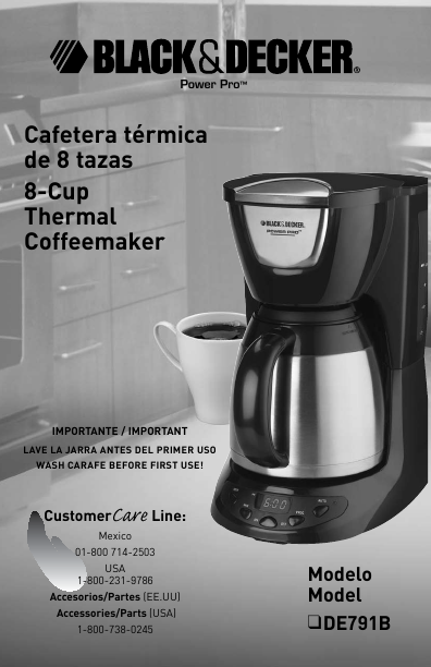 Black And Decker Coffee Maker User Manual : Black & Decker Coffeemaker DE791B User s Guide ManualsOnline.com