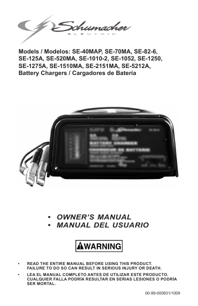 Schumacher battery charger se user s guide