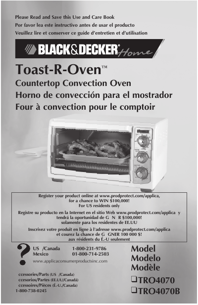 Black & Decker User Manual Countertop Convection Oven TRO4070 ...