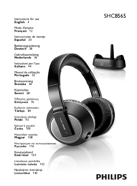 instructions for philips wireless headphones