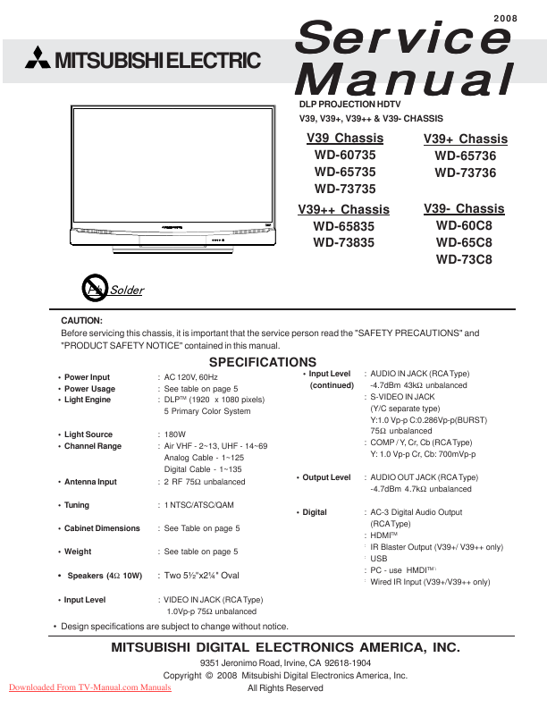 search mitsubishi hc10 html ct havemanual user manuals rh manualsonline com  wd 52627 manual