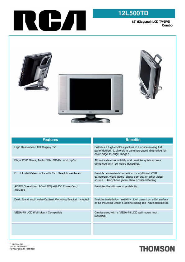 rca flat screen tv manual