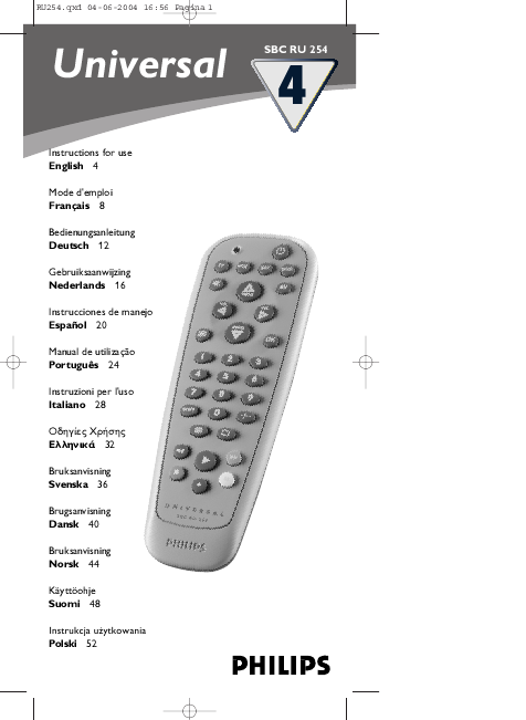 Philips Universal Remote Control Instructions For Use Manualsonline