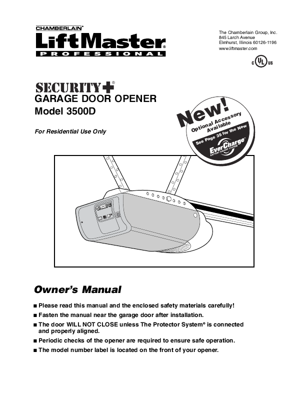 Product Manual For Garage Door Opener Chamberlain greytopp