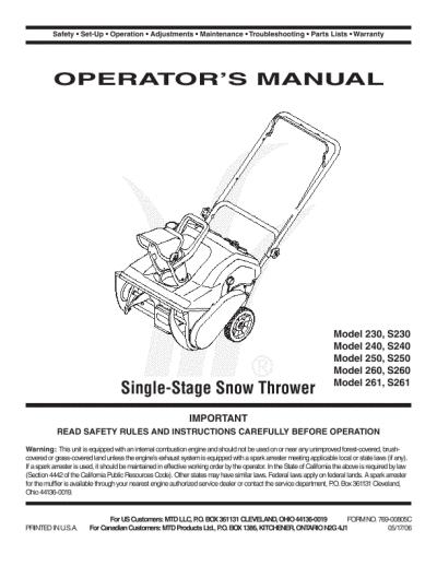mtd 3 21 snowblower manual