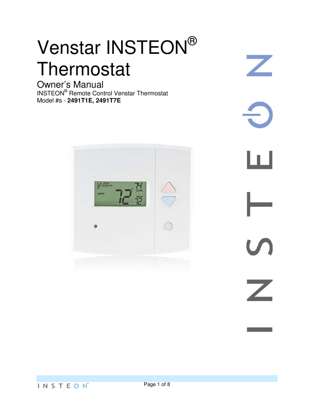 Search remote user manuals manualsonline insteon thermostat 2491t1e publicscrutiny Gallery