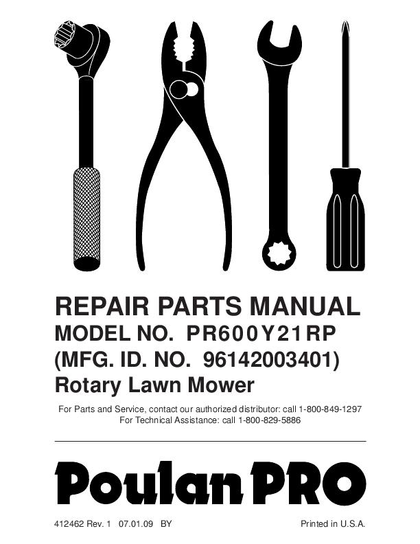 poulan pro lawn mower parts manual