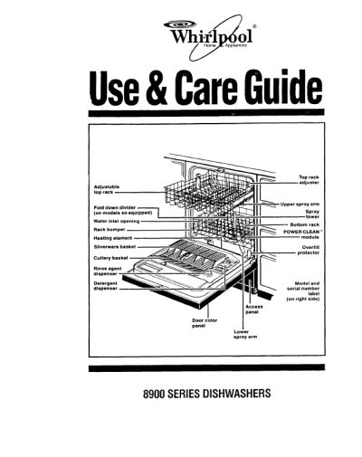 Whirlpool Dishwasher 8900 User U0026 39 S Guide