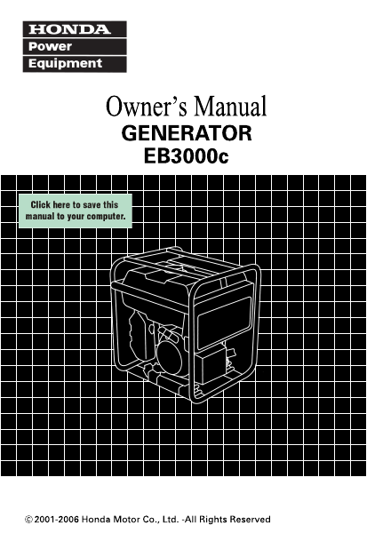 Additional Honda Power Equipment EB3000c Portable Generator Literature