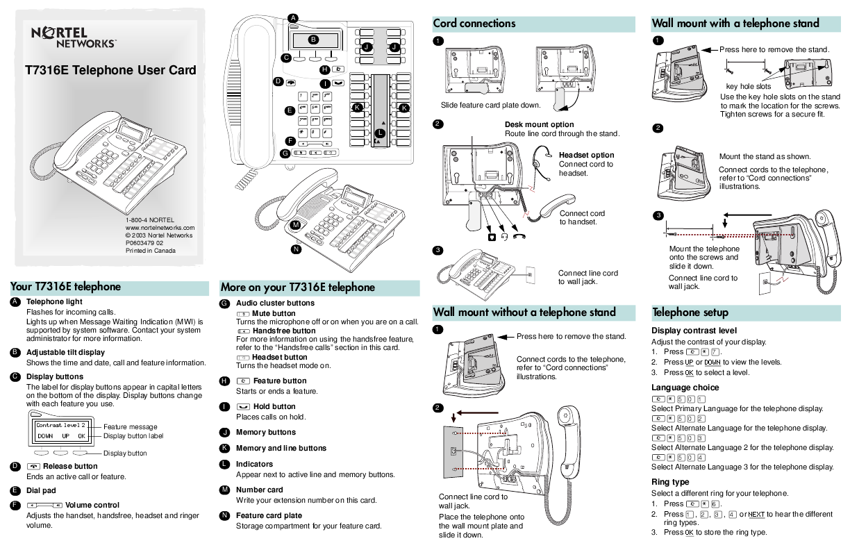 Nortel Networks Phone Manual