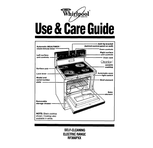 Whirlpool Use Amp Care Guide Self Cleaning Electric Range