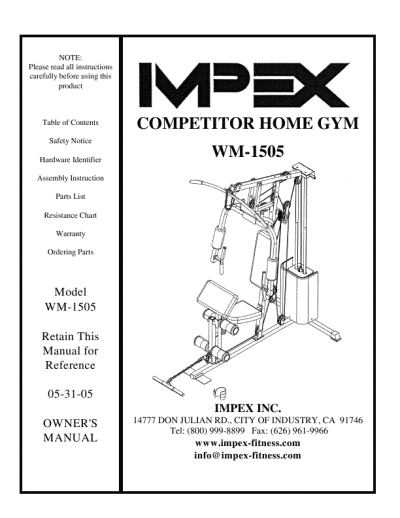 search impex impex home gym user manuals manualsonline com rh manualsonline com impex powerhouse home gym exercises Impex Fitness Manual
