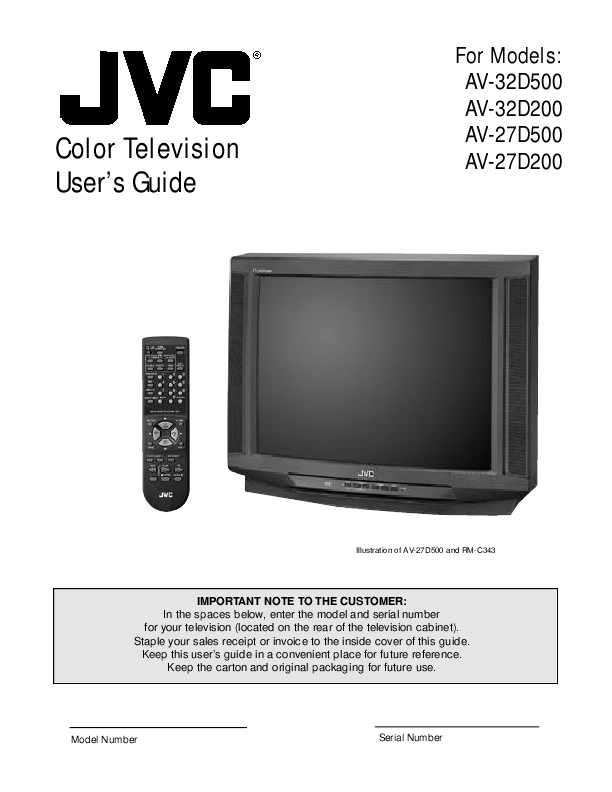 search jvc jvc crt television user manuals manualsonline com rh tv manualsonline com JVC 61 Inch Projection TV JVC Projection TV Parts