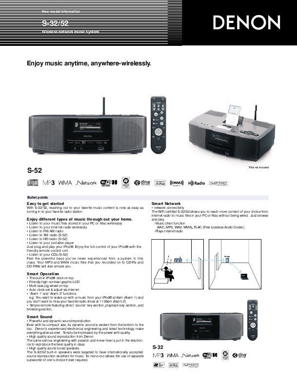 denon wireless network music system owners manual. Black Bedroom Furniture Sets. Home Design Ideas