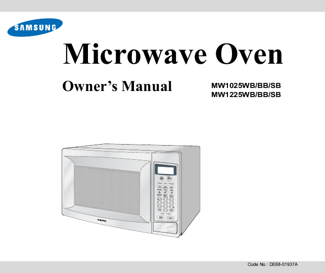 Samsung De68 01937a Microwave Oven Search Convection User Manuals Manualsonline