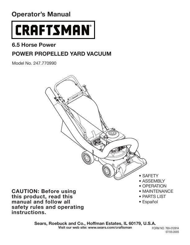 craftsman 6.5 eager 1 manual
