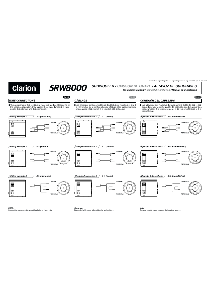 Search Clarion Adx5555z Type Tip User Manuals Manualsonlinecom Xmd2 Wiring Diagram Srw8000