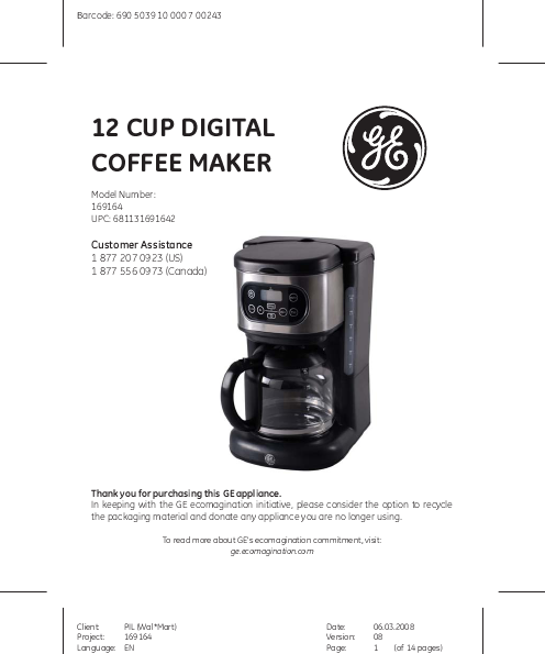 General Electric Coffee Maker 5 Cup : GE Coffeemaker 169164 User s Guide ManualsOnline.com