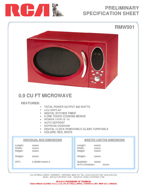 rca microwave oven rmw991 user 39 s guide. Black Bedroom Furniture Sets. Home Design Ideas