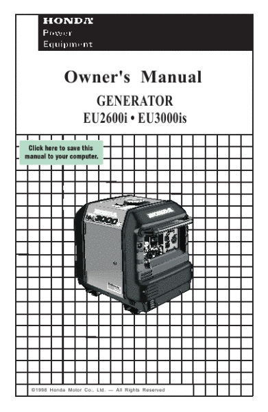 honda eu3000is generator owners manual