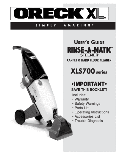 Oreck Rinse A Matic Steamer Ultra Floor Cleaner Manual