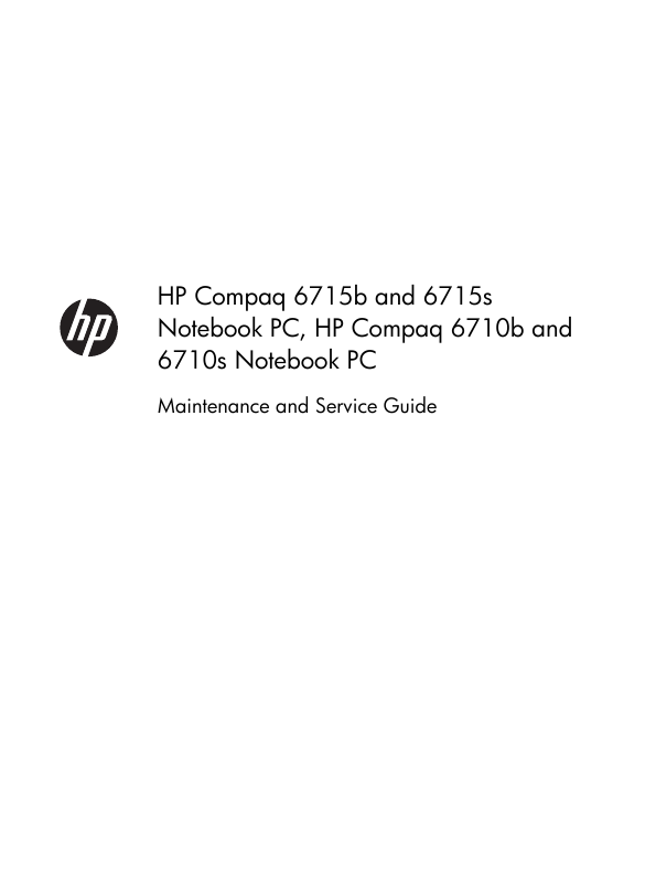 HP 6710b - Compaq Business Notebook Maintenance And Service Manual HP