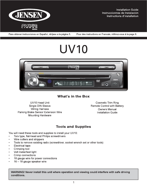 car system uv10 user s guide manualsonline
