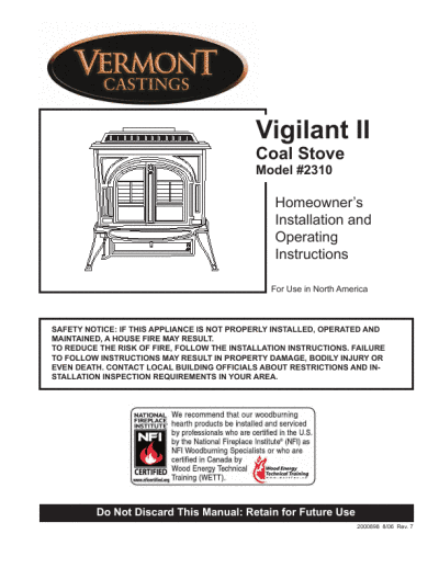Coal Stove Homeowner's Installation and Operating Instructions 2310