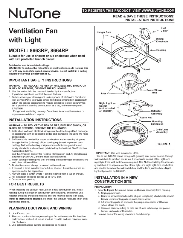 Page 5 Of Nutone Ventilation Hood 8663rp User U0026 39 S Guide