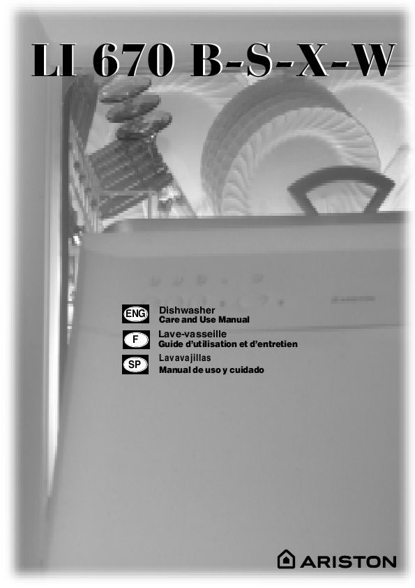 Search dishwasher user manuals manualsonline ariston li 670 b s x w sciox Choice Image